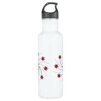 Fireworks Star Swirl - Red, Yellow, Blue on White Stainless Steel Water Bottle