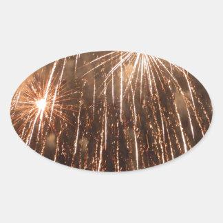 Fireworks Oval Sticker