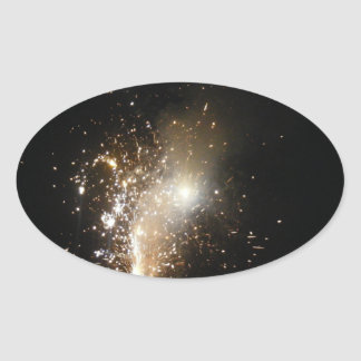 Fireworks Oval Stickers