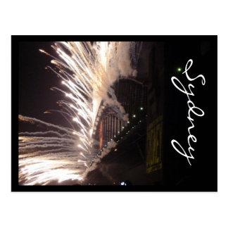 fireworks sydney bridge postcard