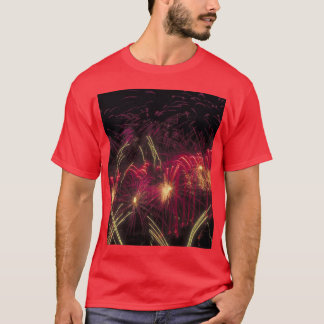 Fireworks that light up the sky, on a t-shirt