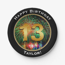 Fireworks Thirteenth 13th Birthday with Name Paper Plate