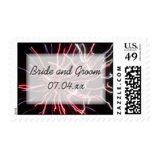 Fireworks Wedding Postage Stamp