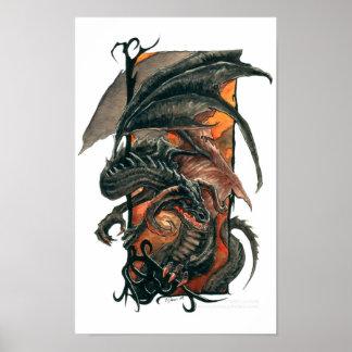 Firey Black Dragon Poster