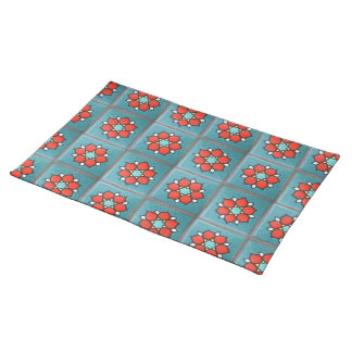 Firey Orange Flowers on Teal Cloth Placemat