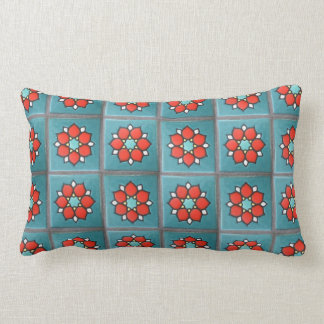 Firey Orange Flowers on Teal Pillow