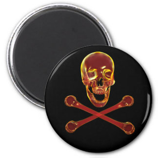 Firey Pirate Skull and Crossbones 2 Inch Round Magnet