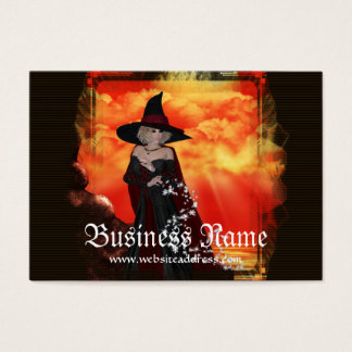 Firey Witch 1  Fantasy Business Cards