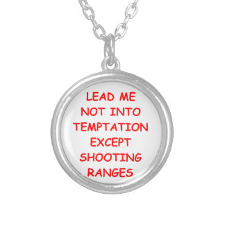 firing range round pendant necklace