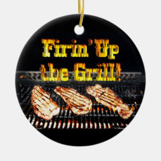 Firing up the Grill! BBQ Steaks Ceramic Ornament