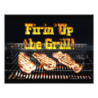 Firing up the Grill! BBQ Steaks Personalized Invitations