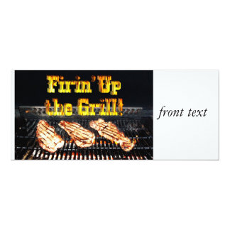 "Firing up the Grill! BBQ Steaks 4"" X 9.25"" Invitation Card"