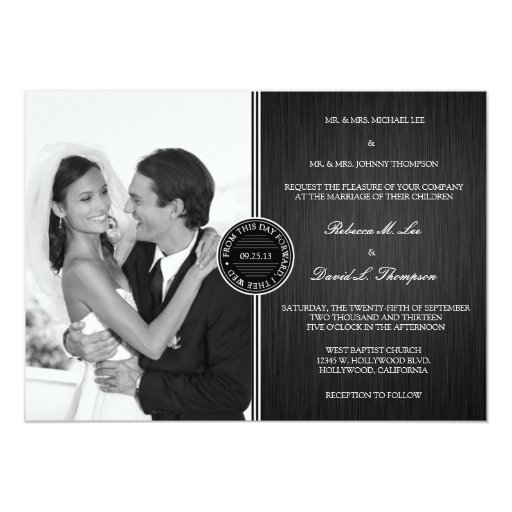 """Firma blanco y negro elegante invitación 5"""" x 7"""""""