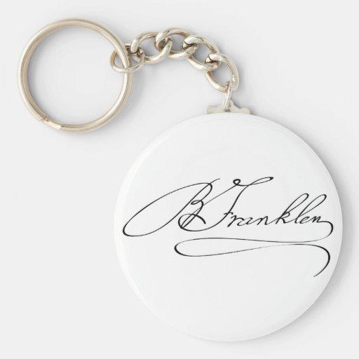 Firma de Ben Franklin Llavero Redondo Tipo Pin