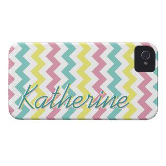 Firma de Chevron de los colores en colores pastel Case-Mate iPhone 4 Cárcasas