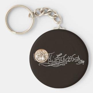 Firma de Elizabeth I (versión 2) Llavero Redondo Tipo Pin