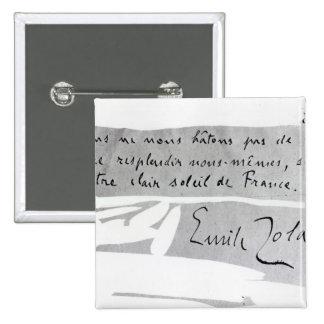 Firma de Emile Zola Pin Cuadrada 5 Cm