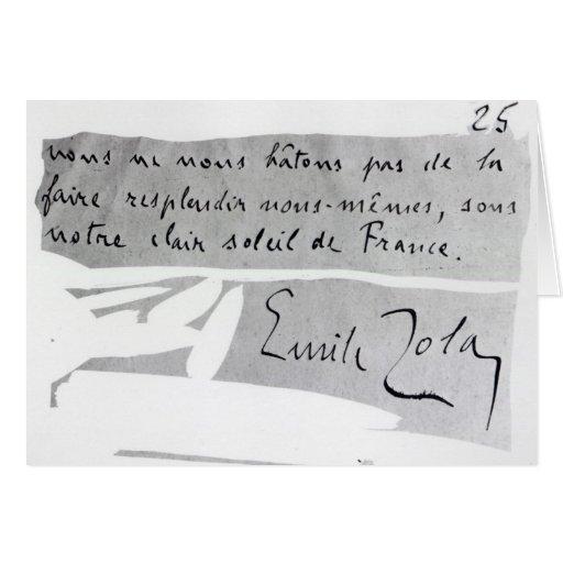 Firma de Emile Zola Tarjeton