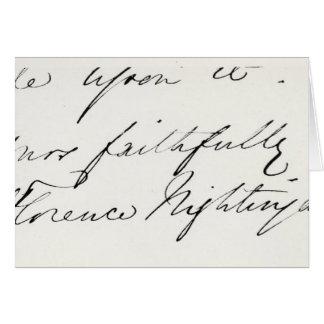Firma de Florence Nightingale Tarjetón