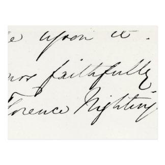 Firma de Florence Nightingale Tarjeta Postal