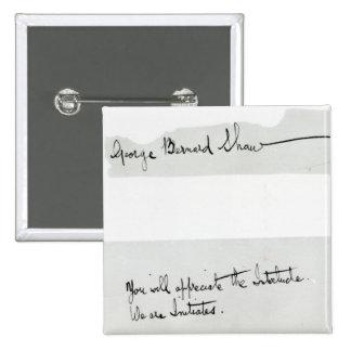 Firma de George Bernard Shaw Pin Cuadrada 5 Cm