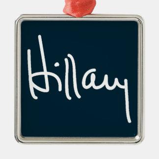 Firma de Hillary Adorno Navideño Cuadrado De Metal