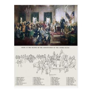 Firma de la constitución con la gente identificada tarjetas postales