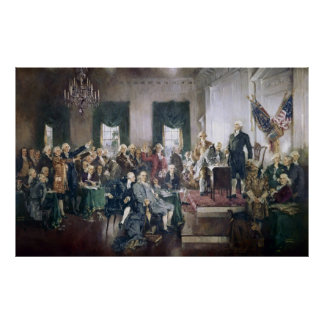 Firma de la constitución de Howard C. Christy Póster