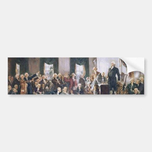 Firma de la constitución de los E.E.U.U. de Christ Etiqueta De Parachoque