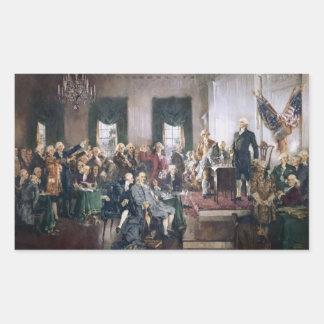 Firma de la constitución de los E.E.U.U. de Pegatina Rectangular