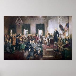 Firma de la impresión de la constitución de los E. Poster