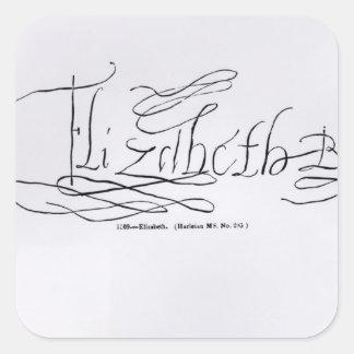Firma de la reina Elizabeth I Calcomanía Cuadrada