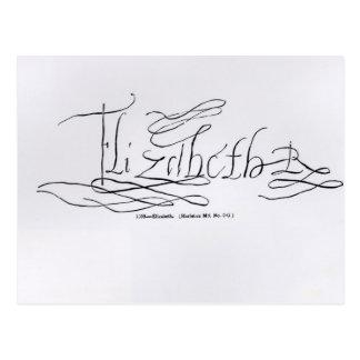 Firma de la reina Elizabeth I Tarjetas Postales