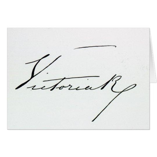 Firma de la reina Victoria (pluma y tinta en el pa Tarjeta De Felicitación