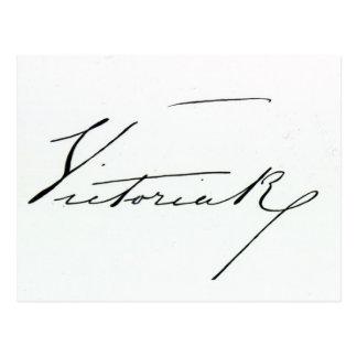 Firma de la reina Victoria (pluma y tinta en el Tarjetas Postales