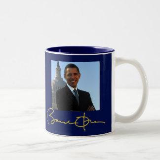 Firma de presidente Barack Obama Taza De Café De Dos Colores
