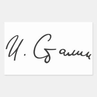 Firma de primero ministro Joseph Stalin de Unión Pegatina Rectangular