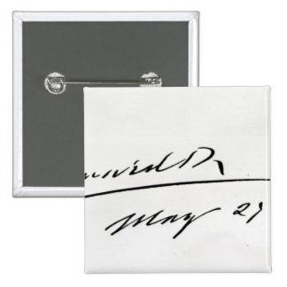 Firma de rey Edward VII, el 29 de mayo de 1906 Pin Cuadrado