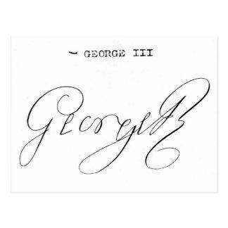 Firma de rey George III Tarjeta Postal