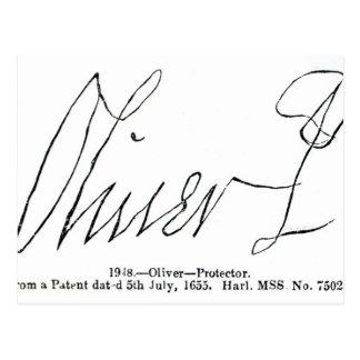 Firma de señor Protector de Oliver Cromwell Tarjeta Postal