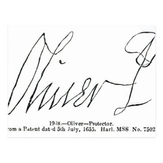 Firma de señor Protector de Oliver Cromwell Tarjetas Postales