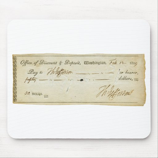 Firma de Thomas Jefferson en el control de banco 1 Alfombrillas De Ratones