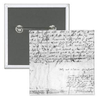 Firma de William Shakespeare, 1616 Pin Cuadrada 5 Cm
