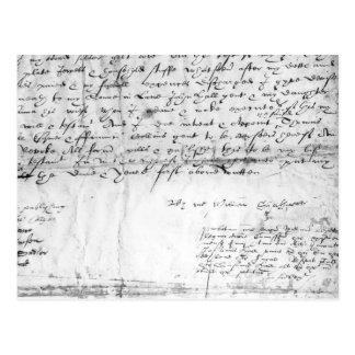 Firma de William Shakespeare, 1616 Postal