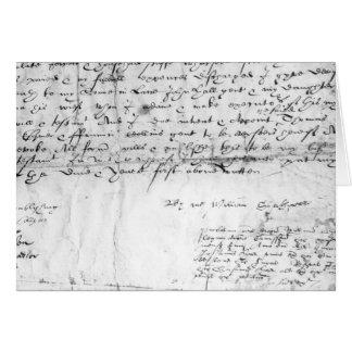 Firma de William Shakespeare, 1616 Tarjeta De Felicitación