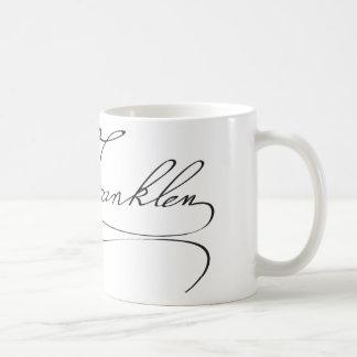 Firma del fundador Benjamin Franklin Taza Básica Blanca