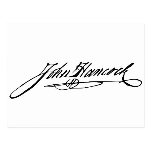 Firma del fundador Juan Hancock Tarjetas Postales