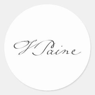 Firma del fundador Thomas Paine Pegatina Redonda