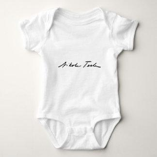 Firma del genio Nikola Tesla de la electricidad Body Para Bebé