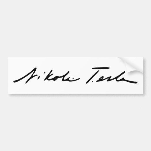 Firma del genio Nikola Tesla de la electricidad Etiqueta De Parachoque
